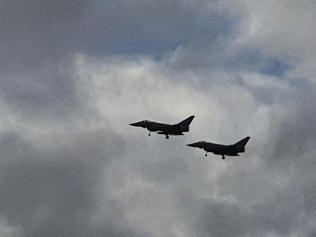 Typhoons landing at RAF Leeming